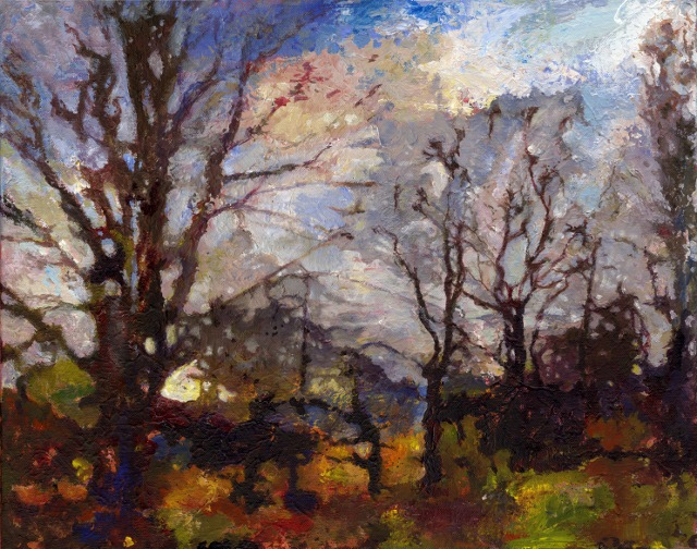 'Hedgerow', near Alfred's Tower, 2013 Acrylic on canvas 50 x 40 cm