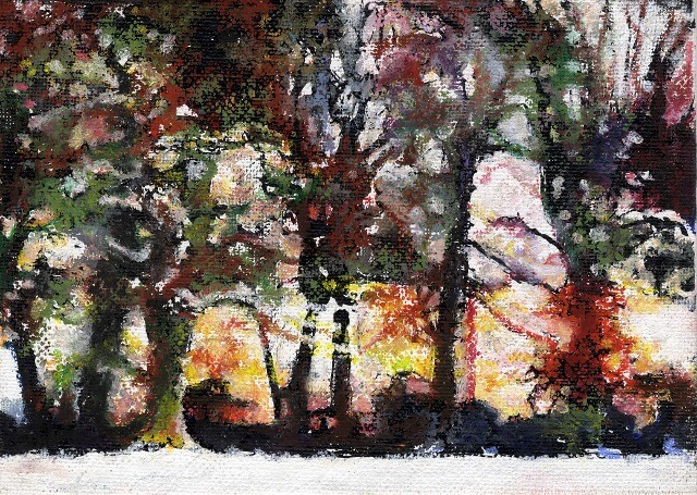 "'Winter Sun' Stourton,	Acrylic + oil pastel on board 2013 5"" x 7"""