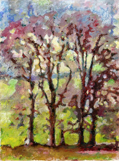 "'Longleat Copse', Wiltshire Acrylic + oil pastel  on board	 9"" x 12"" 2013"