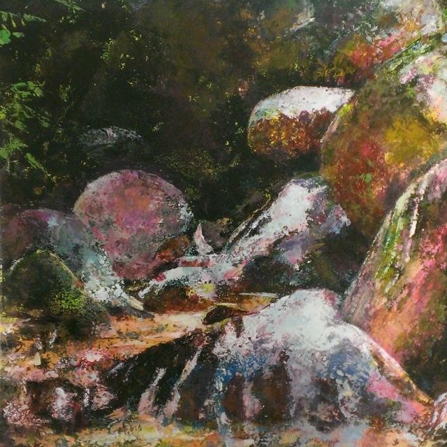 'Boulders 1: Malaysian Rivulet', Tempura, paper on board, 2014, 30 x 30cm