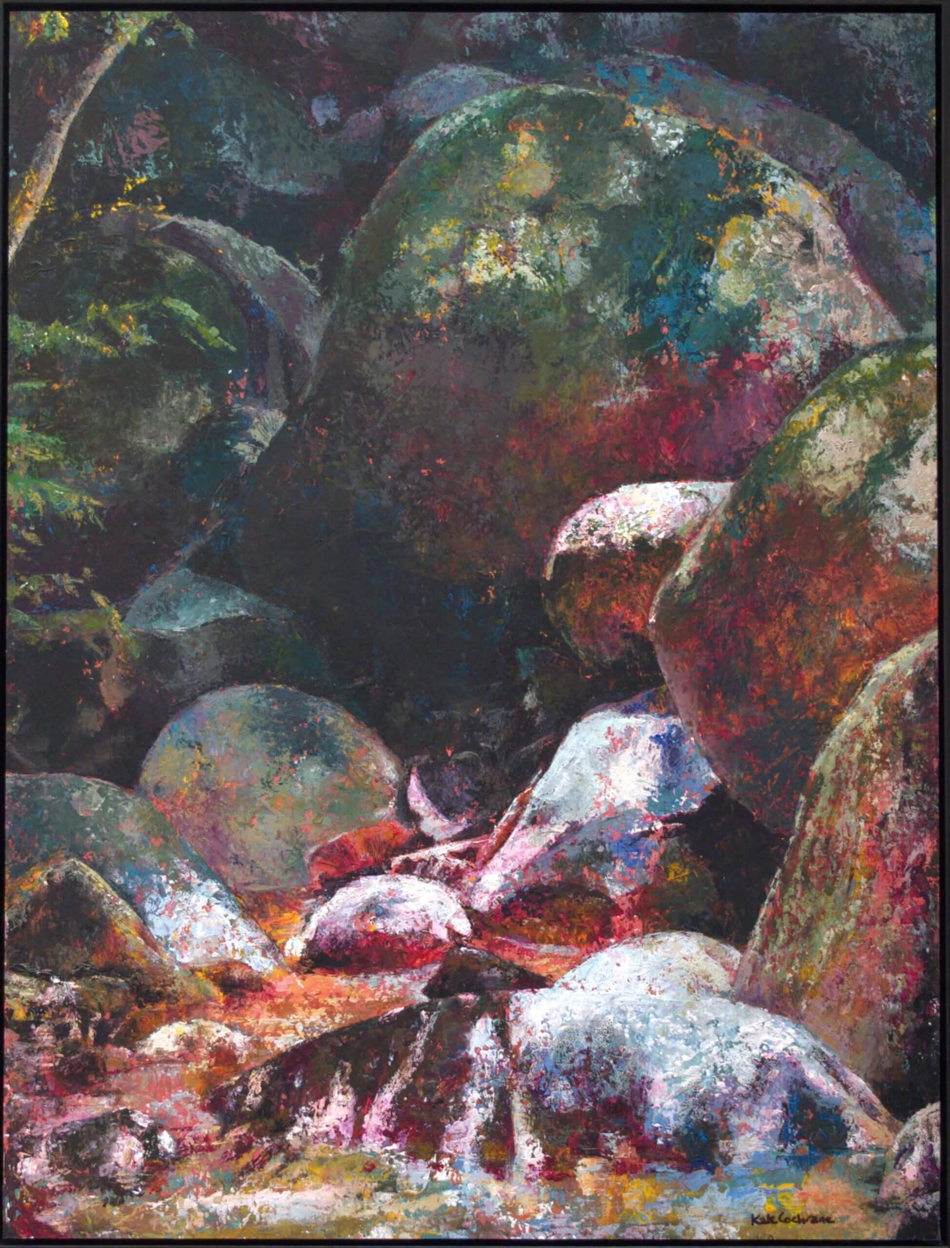 'Boulders : Malaysian Rivulet' Tempura on paper, 73 x 56cm,