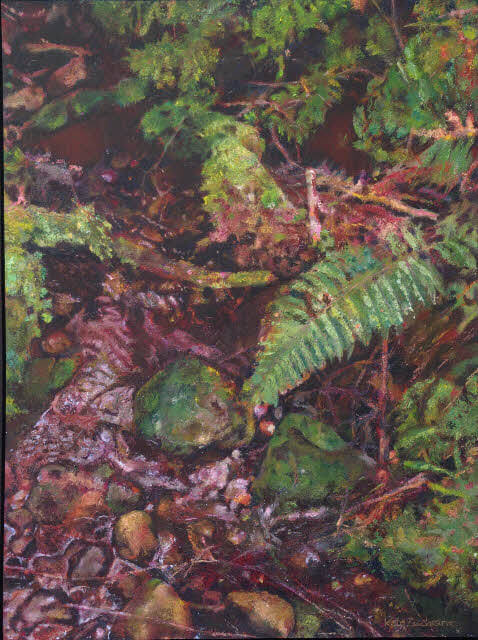 'Forest Tributary: fern with mossy stones' Oil on paper 75 x 56cm 2014
